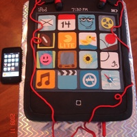 Itouch Ipod Cake Fondant covered cake w/fondant earbuds and fondant Applications. Fun to make, but time-consuming!