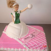 Volleyball Doll Cake For a Sweet 16 who played on the volleyball team.