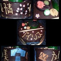 Sushi Cake This is a cake I made for my mom's birthday. Her and I love sushi!! The sushi chef is a resin statute, the chopsticks are real and the...