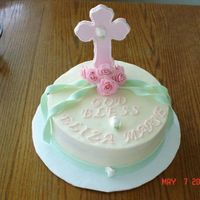 Eliza's Baptism Cake Yellow cake with Strawberry BC filling. I based my design on one of sugar shack's cakes.