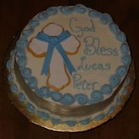 Lucas's Christening Cake Pumpkin Pound cake with Crusting Cream cheese frosting and filling. MMF Cross & Ribbon