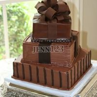 Stacked Boxes Groom's cake dk and light chocolate