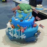 Aquarium Cake For A Competition  Local cake competition - had to be at least three tiers, theme was NC tourist attractions, had 2 hours to curve, ice, and decorate,...
