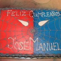"Spiderman Birthday Cake   Says ""Happy Birthday Jose Manuel"" in Spanish. Done in buttercream and then airbrushed."