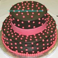 Black And Pink Shower Cake  This shower cake was to mimic the larger wedding cake for a bride doing a destination wedding in Vegas. All butter cream. That was a lot of...