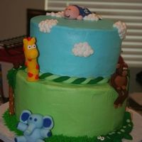 Jungle Baby Shower Cake 10 in and 8 in cakes. Iced in buttercream with fondant accents. Pretzel rods for trees.
