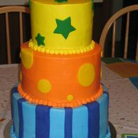 Primary Color 1St Birthday Cake 10, 8, and 6 in cakes. Iced in buttercream with fondant accents.