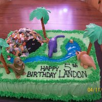 Dinosaur Birthday Chocolate cake and chocolate cave with bc icing. Chocolate candy rocks, fondant dinosaurs, piping gel stream. Thanks again for all the...