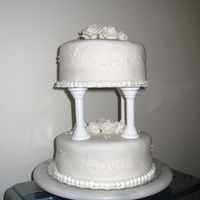 "Foreverlove.jpg Cake i did for my Wilton final!Says ""forever"" on the top tier and ""Love"" on the bottom tier"