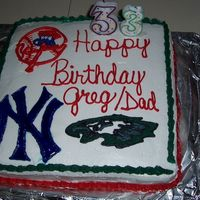 Yankees And Eagles Birthday Cake I made this cake for my boyfriend for his birthday - he loves the Eagles and the Yankees! It was about 100 degrees outside and my son was...