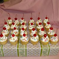 "Ice Cream Cone Cupcakes These are ice cream cone cupcakes. The ""swirl"" is buttercream frosting using a tip 1M swirl.... i dried the cherries w/ a paper..."