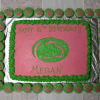 Girl's 16Th Birthday Cake - Penn State Univ. Made this for a cousin's 16th birthday party.... she's a big penn state fan and wanted green and pink , so this is what I came up...