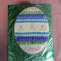 Easter Egg Cake Just a simple Easter Egg Cake I did for Easter. I used the oval cake pans that you get with wilton course #2's class kit. Buttercream...