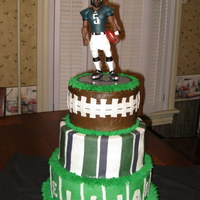 Philadelphia Eagles Football 3 Tiered Cake Made this Philadelphia Eagles Donovan McNabb cake for my son's 6th birthday. This was my first stacked/tiered cake! second time...