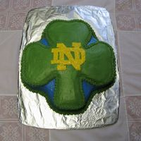 Notre Dame Fighting Irish Cake Used the shamrock shaped cake pan to make this Notre Dame University Fighting Irish cake for my father in law's birthday. I hand drew...