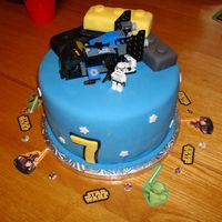 Star Wars Lego Cae This cake was for my son's 7th b-day, he loves star was lego. The large legos were rice crispy treats covered in fondant. The ship and...