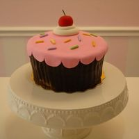 Cupcake Cake Fondant covered vanilla rum cake with fondant cherry and sprinkles. Thanks for looking!