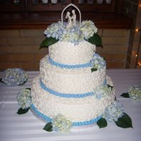 Hydrangea Wedding Cake WASC cake with raspberry filling and almond buttercream icing