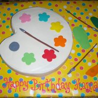 Painting Party Birthday Cake WASC rainbow cake with fondant details and brushes.