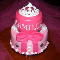 Kitty Princess Cake WASC cake with Almond Buttercream and fondant details and royal icing tiara.