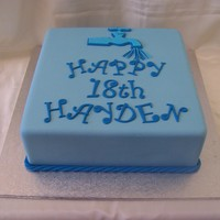 Square Blue Birthday Cake For A Plumber   10 inch caramel mud cake covered in blue fondx. THemed for a friends son who has recently become a plumber