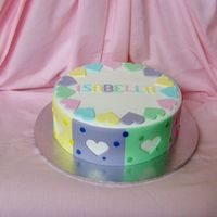 Isabella's 10Th Birthday 9 inch caramel mud cake covered in white fondx with fondant panels and hearts cut out. Inspired from a design in an old wilton book....