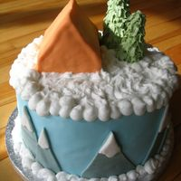 Winter Camping Fondant with buttercream snow banks.