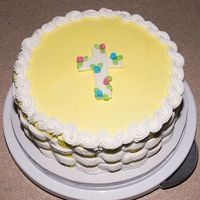 Baptism Cake this cake was for my husband's cousin's daughters baptism it is a yellow and white basketweave with fondant cross and rosettes....