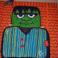 Frankenstein   Halloween birthday party. Choc. cake with butter cream frosting.
