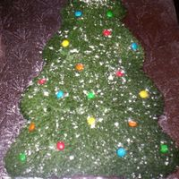 Christmas Tree With Snow Wilton Christmas tree pan. Covered with leaf tip and mini M & M's with snow (icing sugar)