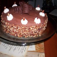 Chocolate Cake Side Veiw Chocolate cake with chocolate deocrations and walnuts.
