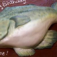Big Bass Cake Birthday cake depicting a big bass. Used luster dust to obtain the color.