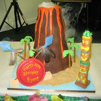 "Big Kahuna Volcano Cake  Whew. This was my last big cake before going into semi-retirement to have my baby last year. The cake is on a 21""x21"" plywood..."