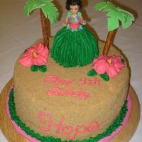 "Hula Girl 10"" round, all buttercream covered in light brown sugar ""sand."" Fondant palm leaves on pretzel rods for the trees."