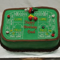 Craps Cake All buttercream with fondant dice and poker chips.