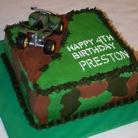 "4-Wheeler Camouflage Cake   This little boy loves all things camouflage and riding 4-wheelers, so that's what I gave him. 8"" square cake."