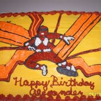 Power Ranger 1/4 Sheetcake decorated in buttercream. Thanks to CC members for the idea!