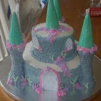 "Livie's Castle Cake 6"" chocolate cake on 10"" white cake. Iced in buttercream w/royal icing decorations. Cake was for an Ariel theme party - so I..."