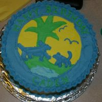 Go Diego Go Birthday Cake 2-layer cake decorated in all buttercream. Decorated as the rescue patch from Diego's vest.