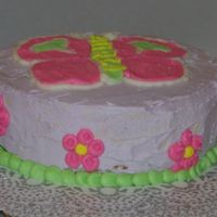 "Side View - Butterfly Smash Cake 1 layer 6"" yellow cake decorated with buttercream. Baby's mother just wanted something 'girly'. Thank you to APCakes..."