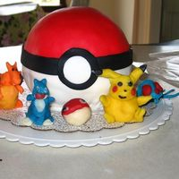Pokemon Pokeball Cake For My Son's Birthday   All cake & fondant cake for my son's 7th birthday. Characters were molded by my husband out of modeling chocolate.