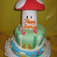 Super Mario Bros. This cake was made for my great nephew Jake.It's made out of strawberry filling, buttercream icing, fondant and the mushroom is made...