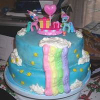 My Little Pony Made with fondant and whip cream icing.