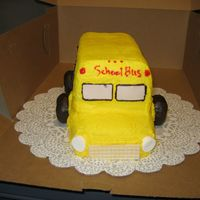 School Bus  I made this for a childs first day riding the bus. It is was made with a loaf pan and the front end is a twinkie. The windows our half...
