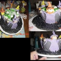 Witches Brew   fondant witches, cauldron made of chocolate cake, brew is green jello mixed with bc. Worms and eye balls are store bought candy