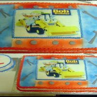 Bob The Builder W/ Smash Cake   White cake with strawbery filling, bob the builder edible sheet, mmf screw head and tools.