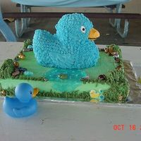 Ducky   White cake with texas pebbles (jelly beans) choco rocks