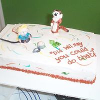 Calvin And Hobbes Cake for a boy who likes to take apart electronics! gumpaste figures, buttercream icing.