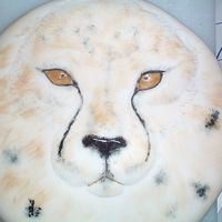 Cheetah Cake fondant and liquid food coloring + vodka for paint.