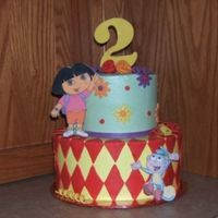 Dora The Explorer Cake was Darn good chocolate, edible image plagues and fondant accents. The mother loved it!